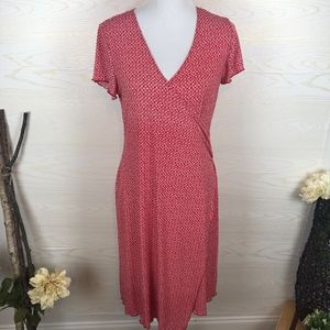 New Directions Red Wrap Dress Ruffle Sleeves